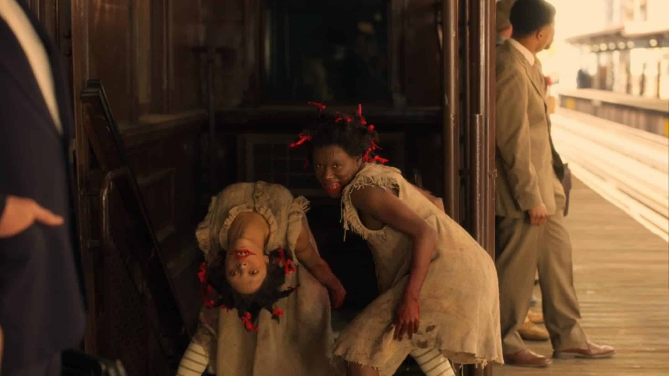 Topsy (Kaelynn Gobert-Harris) and Bopsy (Bianca Brewton) scaring Diana.