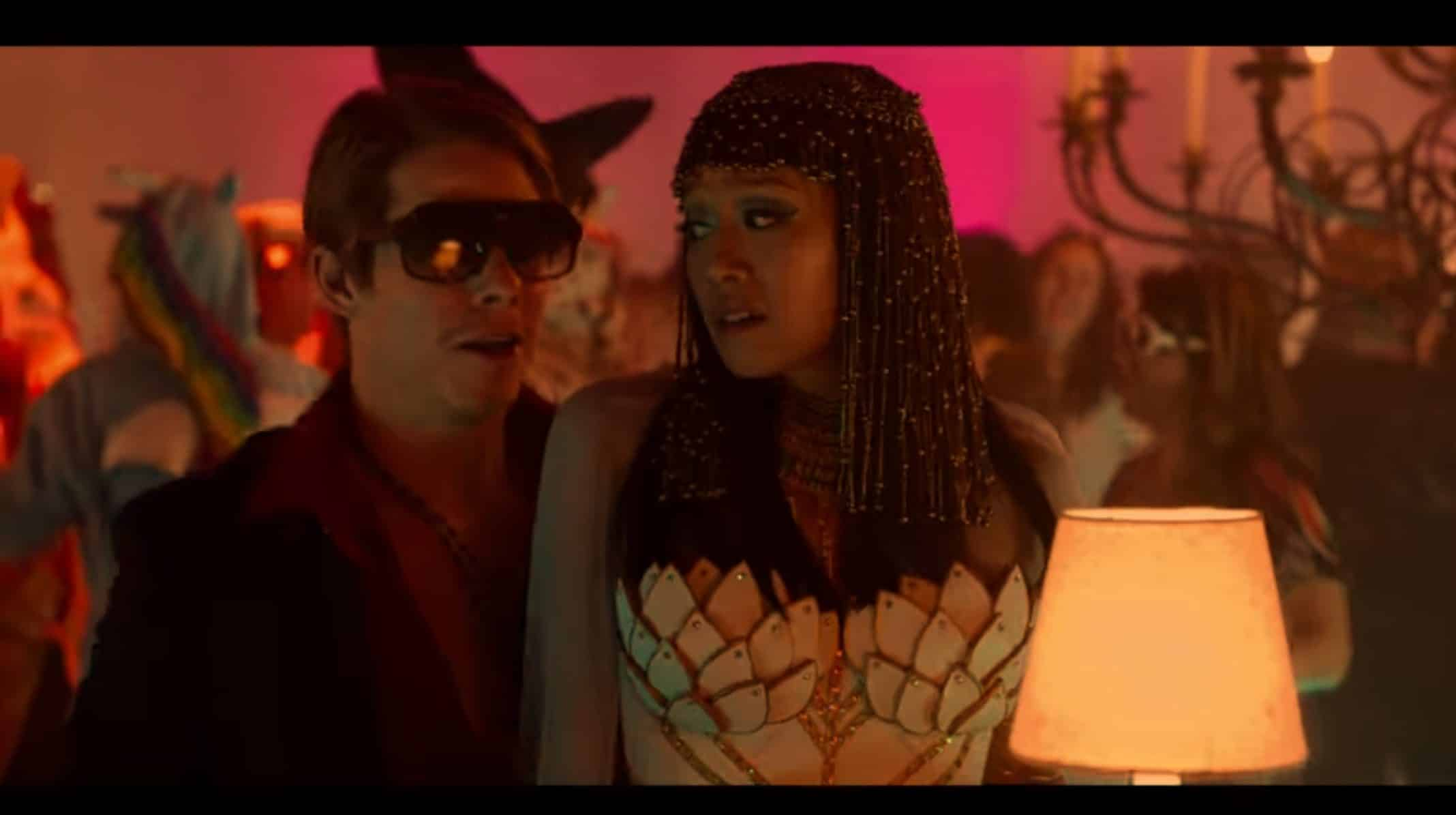 York (Jake Manley) and Liz (Cynthy Wu) at a Halloween party as Marc Anthony and Cleopatra.