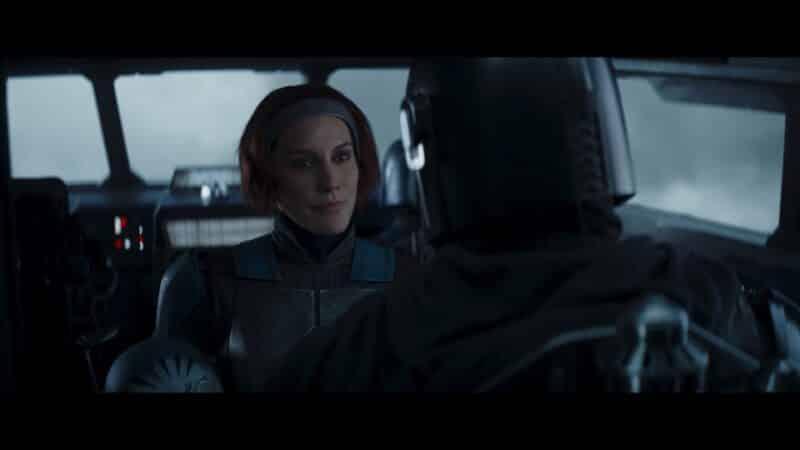 Bo-Katan (Katee Sachoff) talking to Din as they take a ship