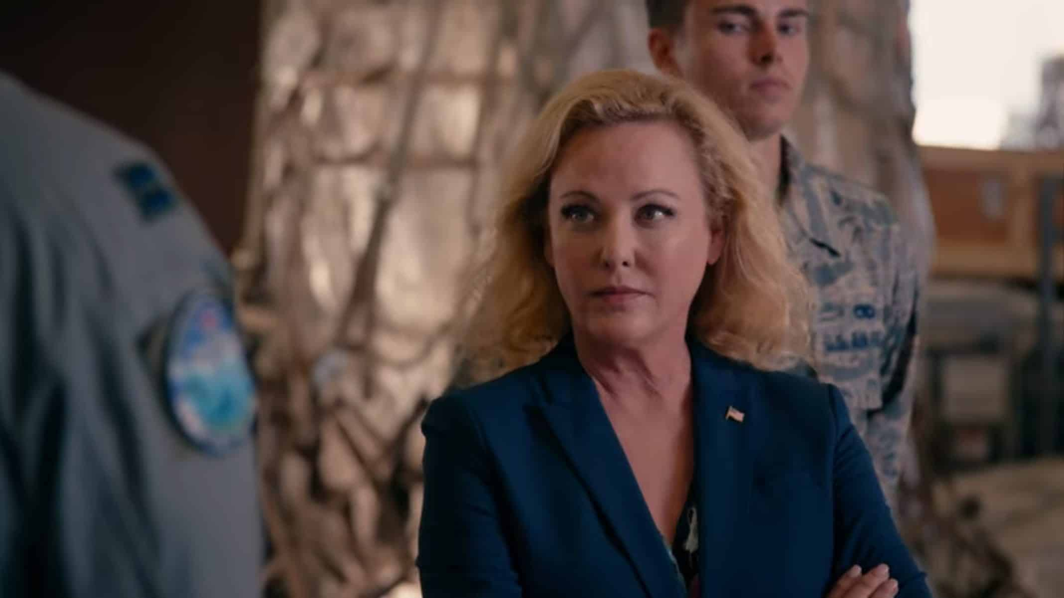 Congresswoman Bradford (Virginia Madsen) showing up for an inspection