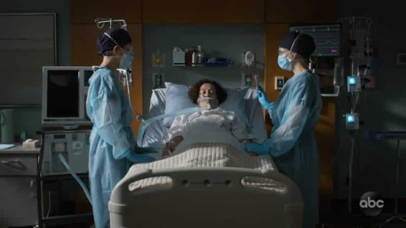 Dr. Lim, Nurse Deena, and Morgan as Nurse Deena dies.