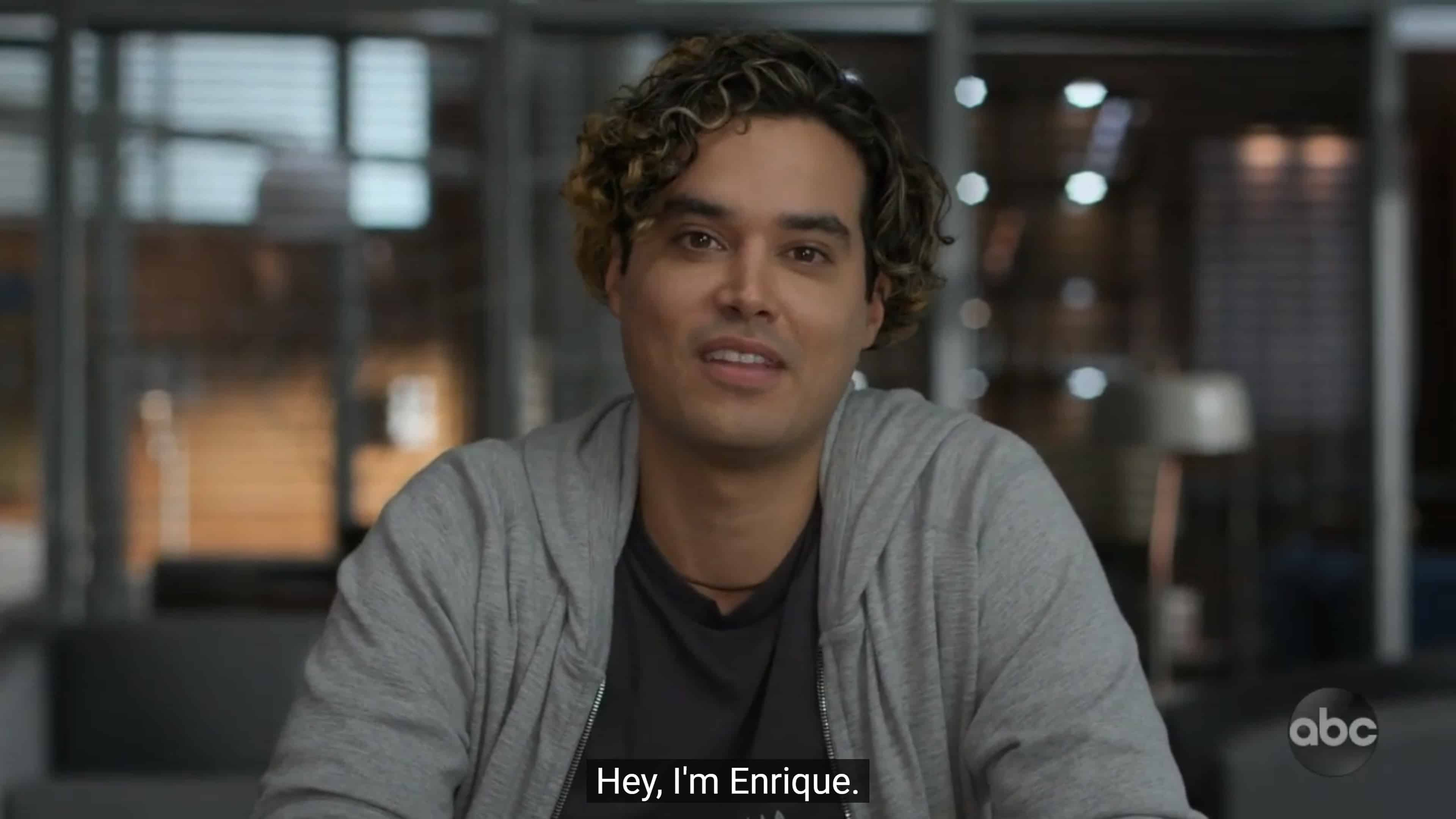 Enrique (Brian Marc) during his interview with Claire