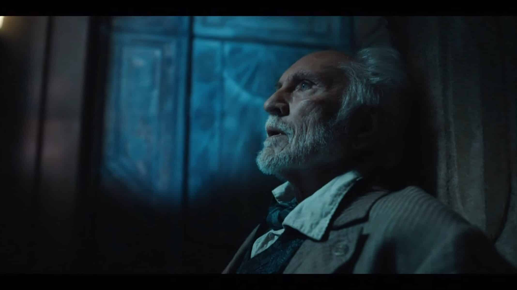 Giacomo (Terence Stamp) as Spectres try to kill him