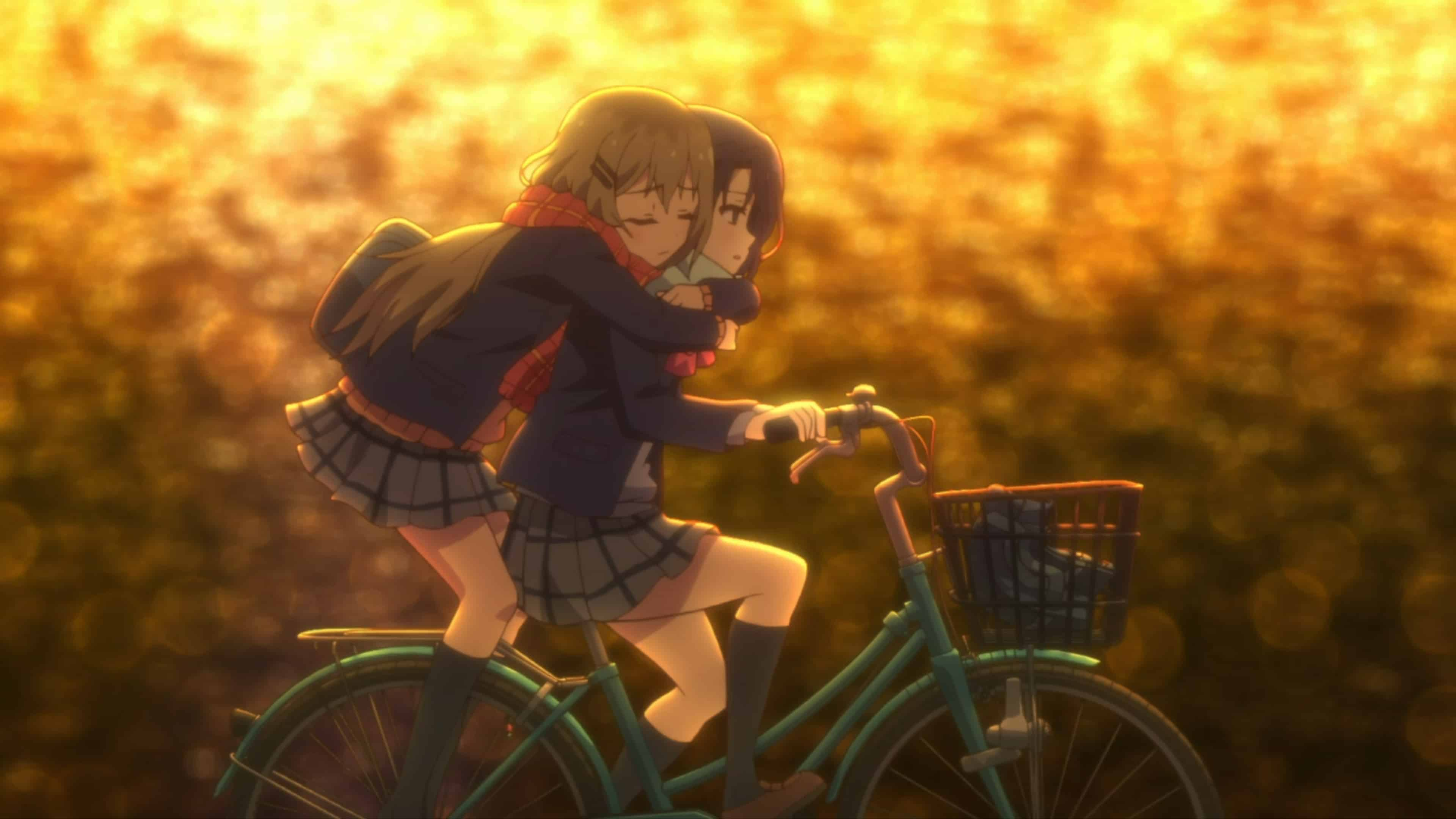 Shimamura on the back of Adachi's bike