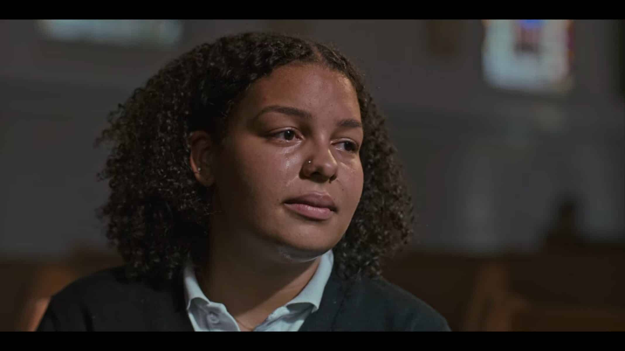 Sylvia (Mirabella Raschke-Robinson) crying as she tells Joey her story