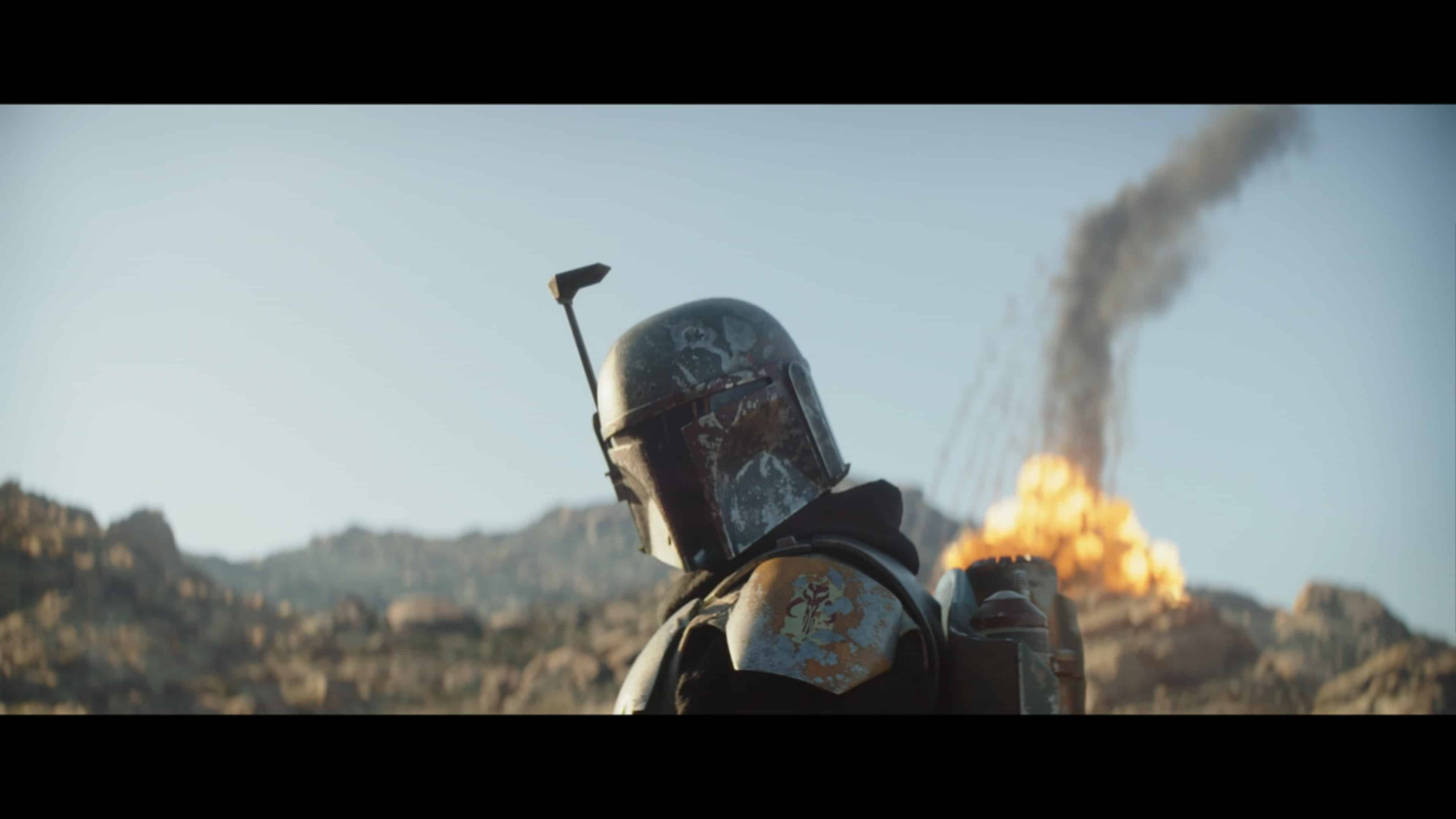 Boba Fett with an explosion behind him