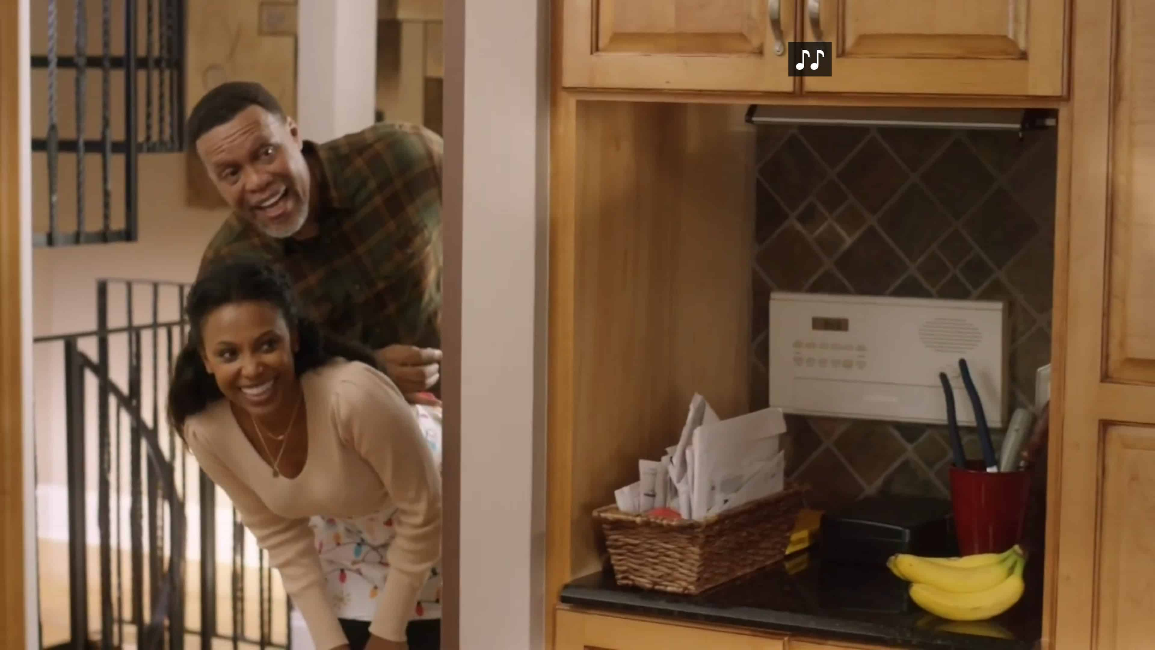 Buck (L. Warren Young) and Chloe laughing at Donovan.