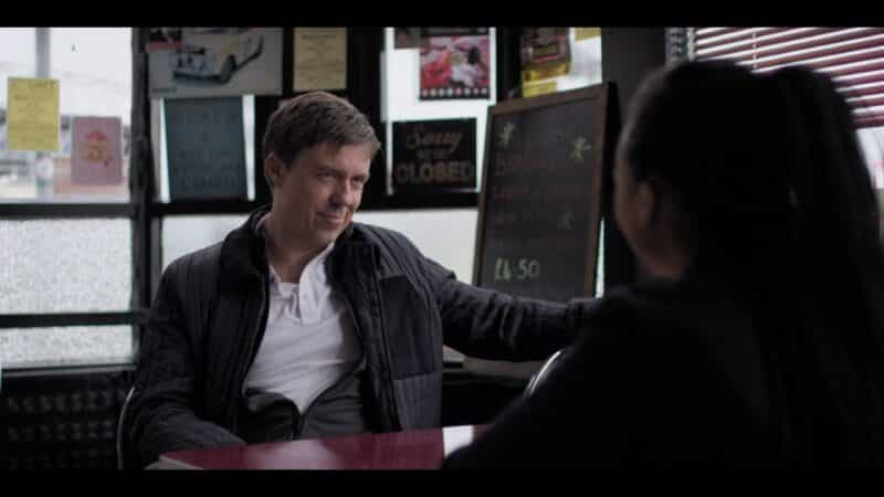 Felim (Andrew Buchan) having a lunch meeting with Harper