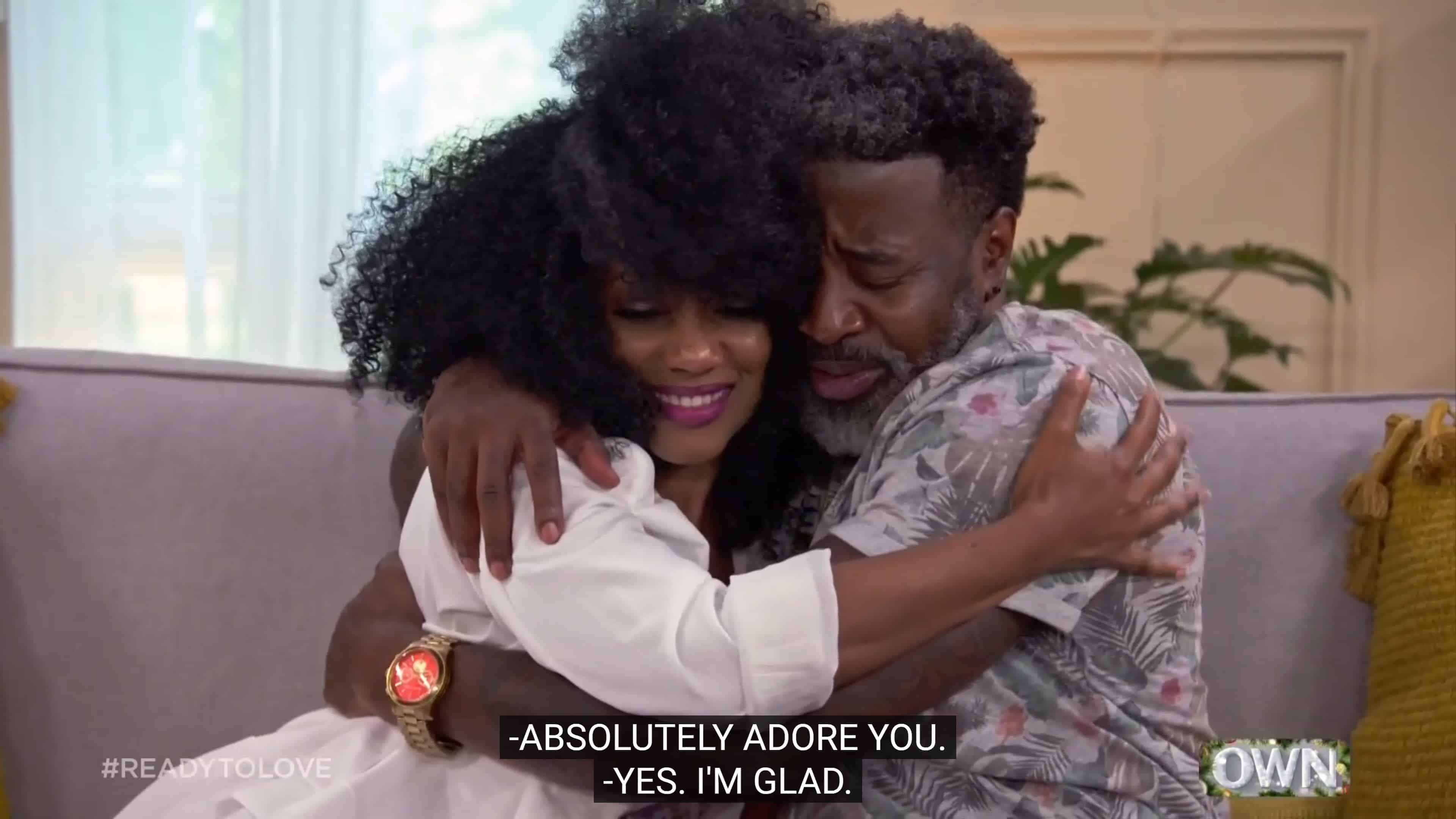 Joy and Edwin hugging