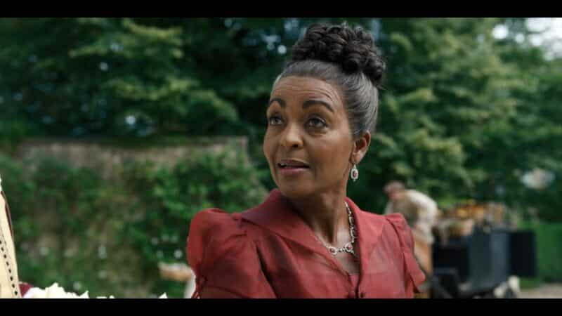 Lady Danbury (Adjoa Andoh) acting as if she gave Simon an option to come to her party