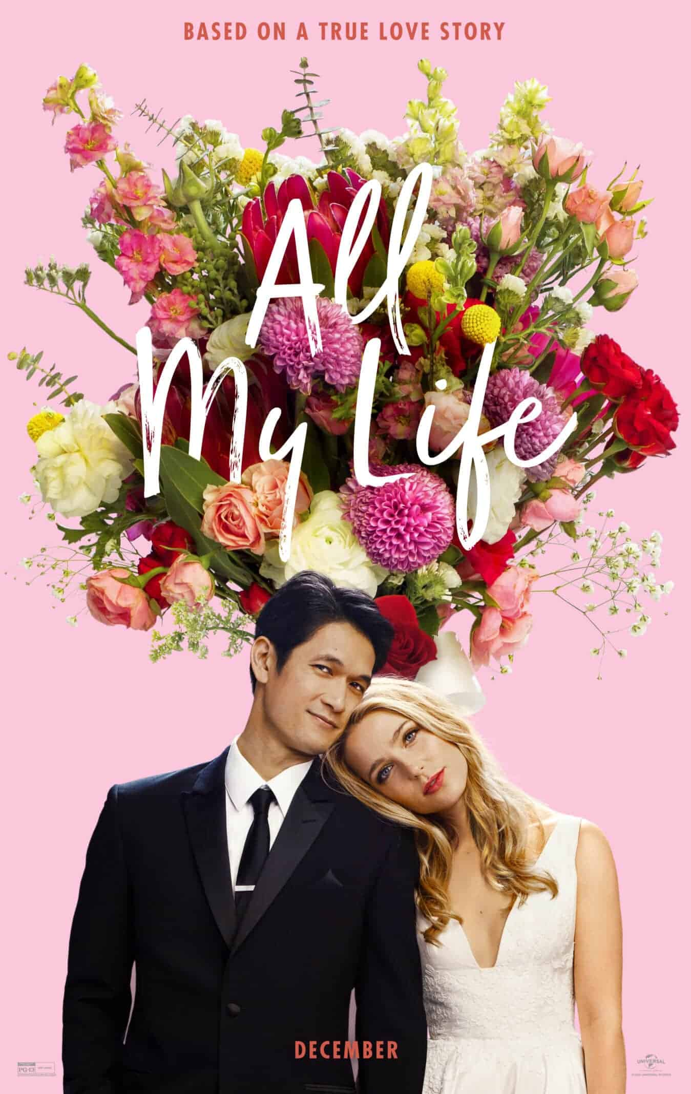 All My Life's movie poster featuring Harry Shum Jr. as Sol and Jessica Rothe as Jennifer.