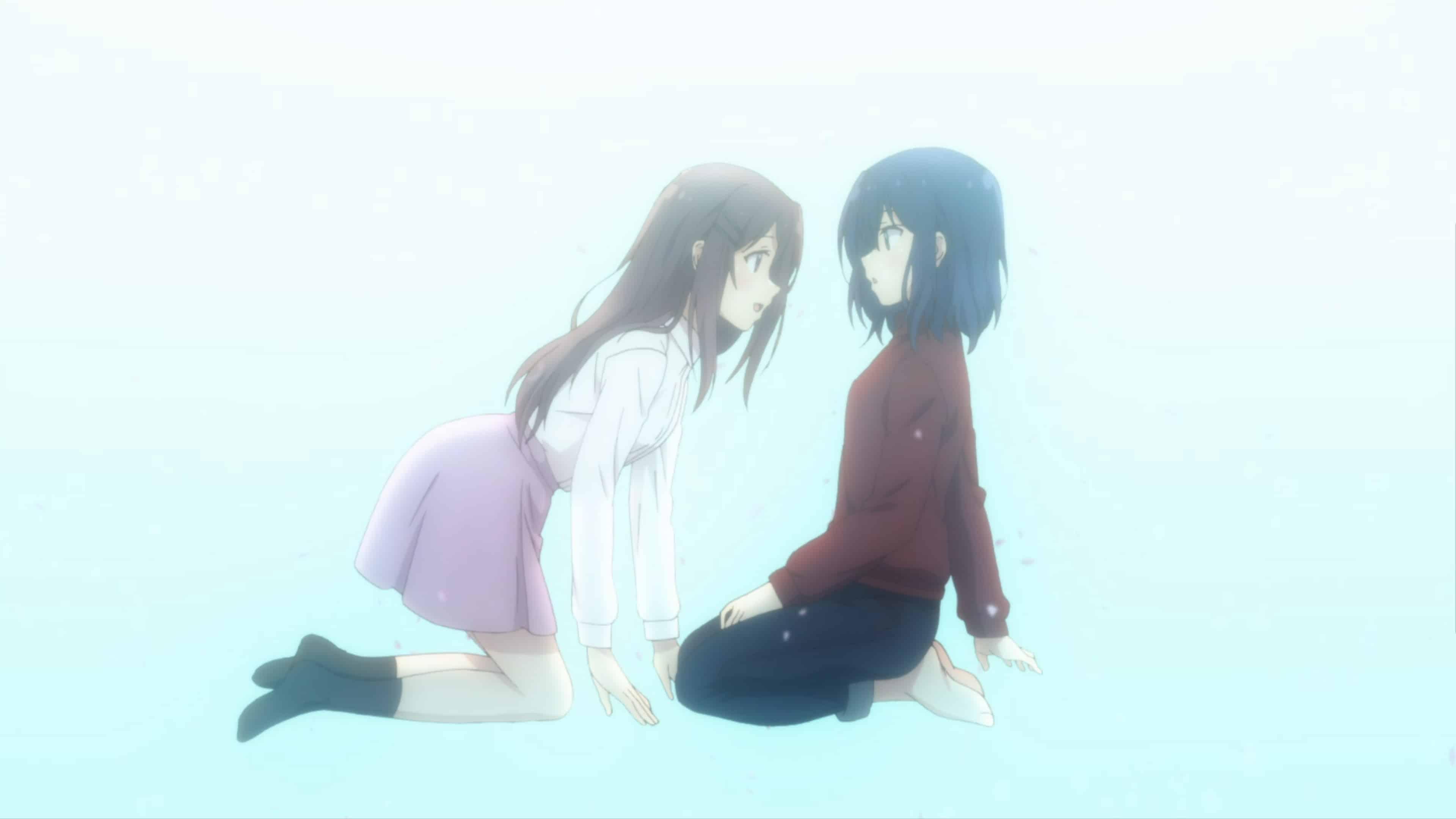 Shimamura crawling towards Adachi