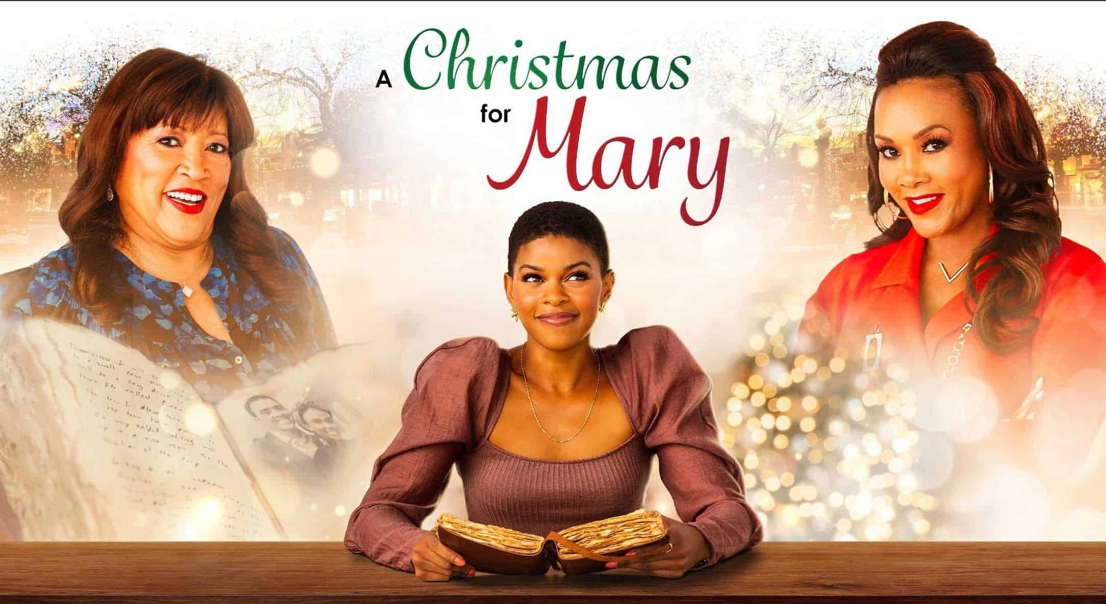 Title Card for A Christmas for Mary featuring Debbie (Jackée Harry), Lena (Morgan Dixon) and Vivian (Vivica A. Fox)