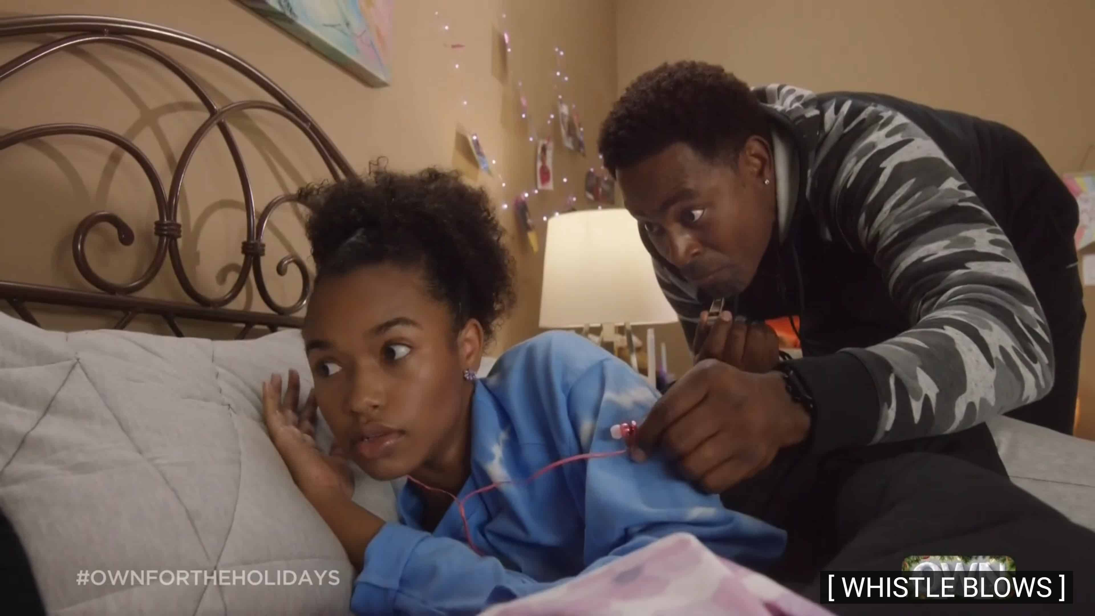 Vanessa (Baily H. Tippen) and Donovan when Donovan woke her up