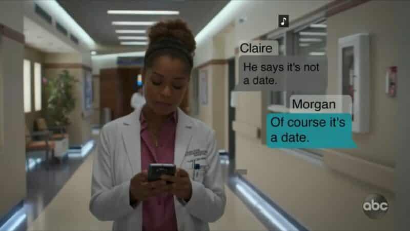 Claire texting Morgan