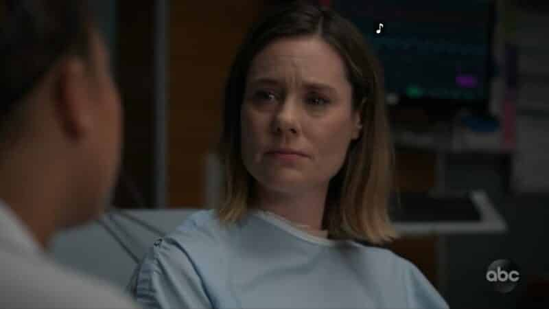 Hannah (Ashley Williams) wondering if her husband can survive another cancer treatment