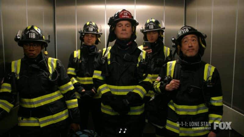 Hen, Eddie, Bobby, Buck, and Chim in a elevator going to save people from a bus that crashed into the building