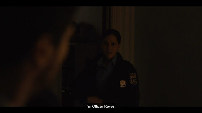 Officer Reyes (Victoria Cartagena) introducing herself
