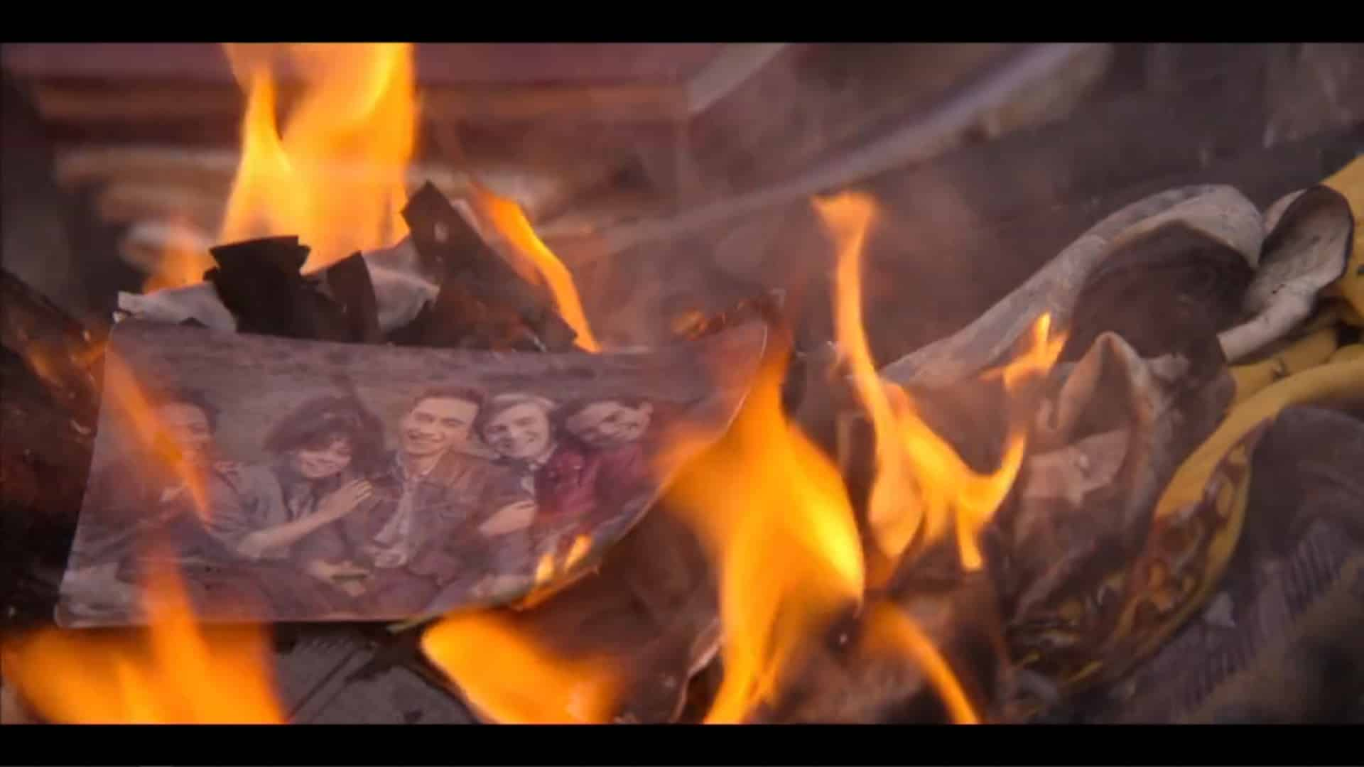 A photo of the leads burning with Gloria's stuff