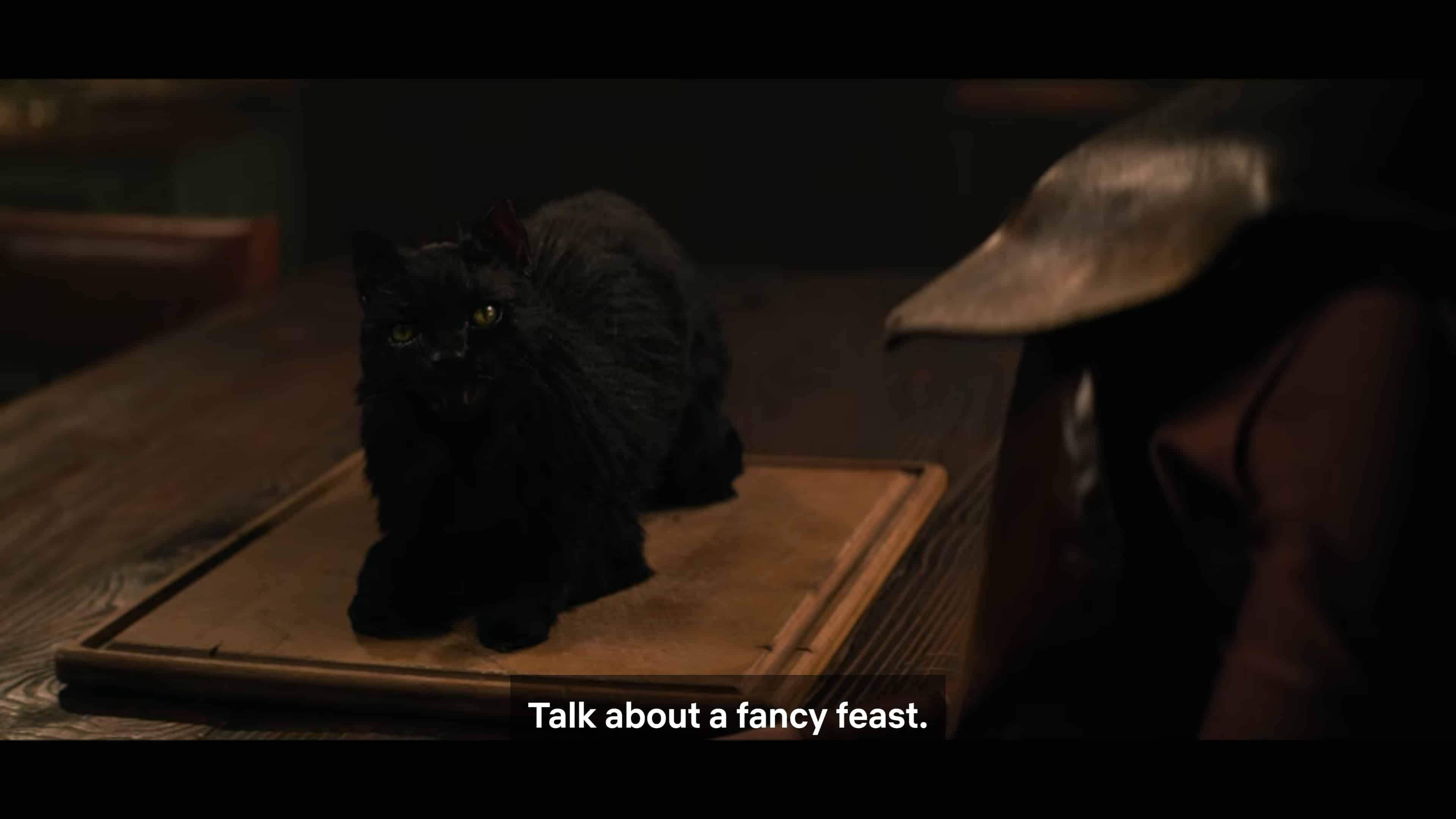 Salem Saberhagen (Luke Cook) talking about food
