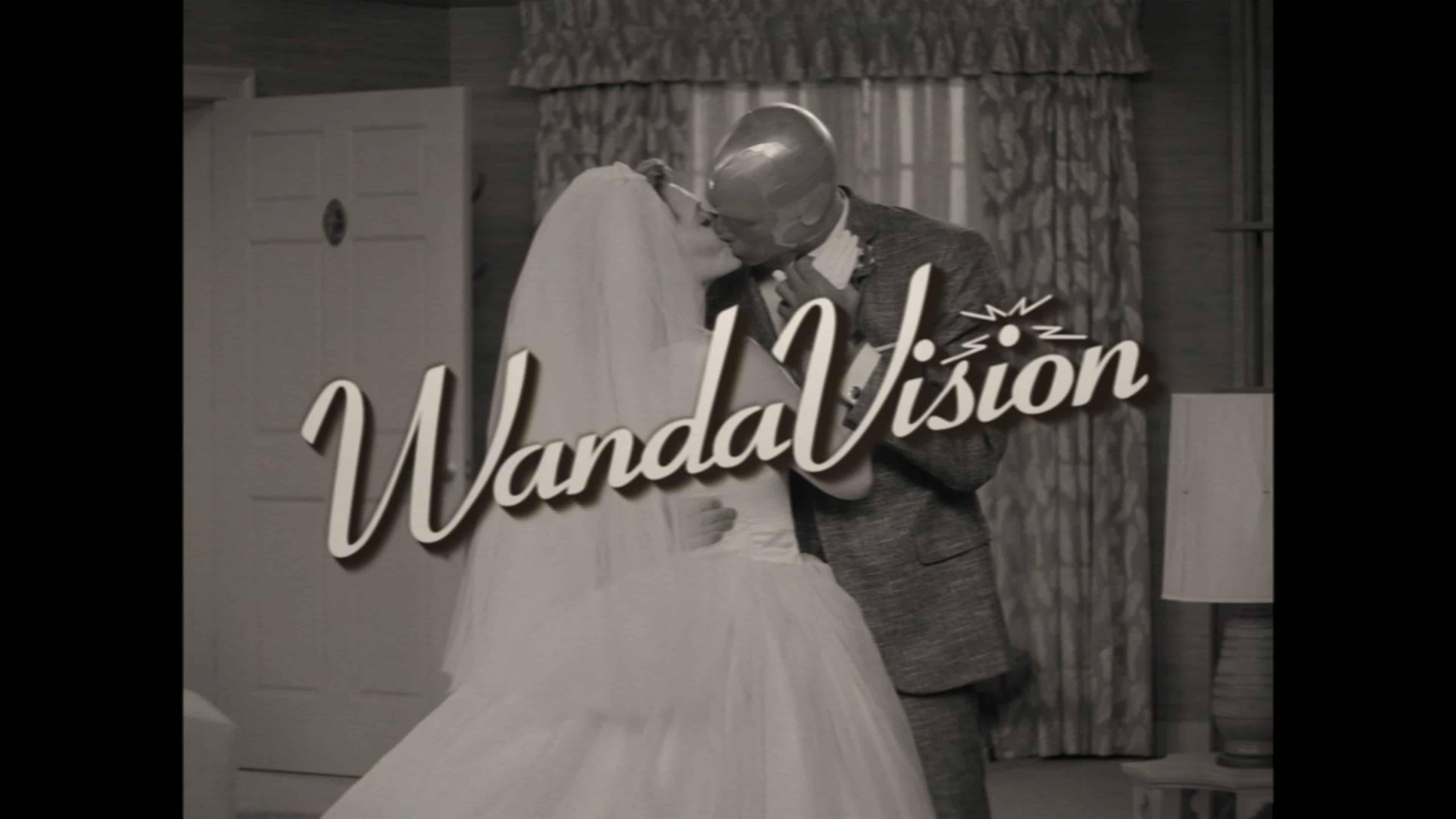 Title Card - Wandavision Season 1 Episode 1 [Series Premiere] | Featuring Wanda and Vision kissing