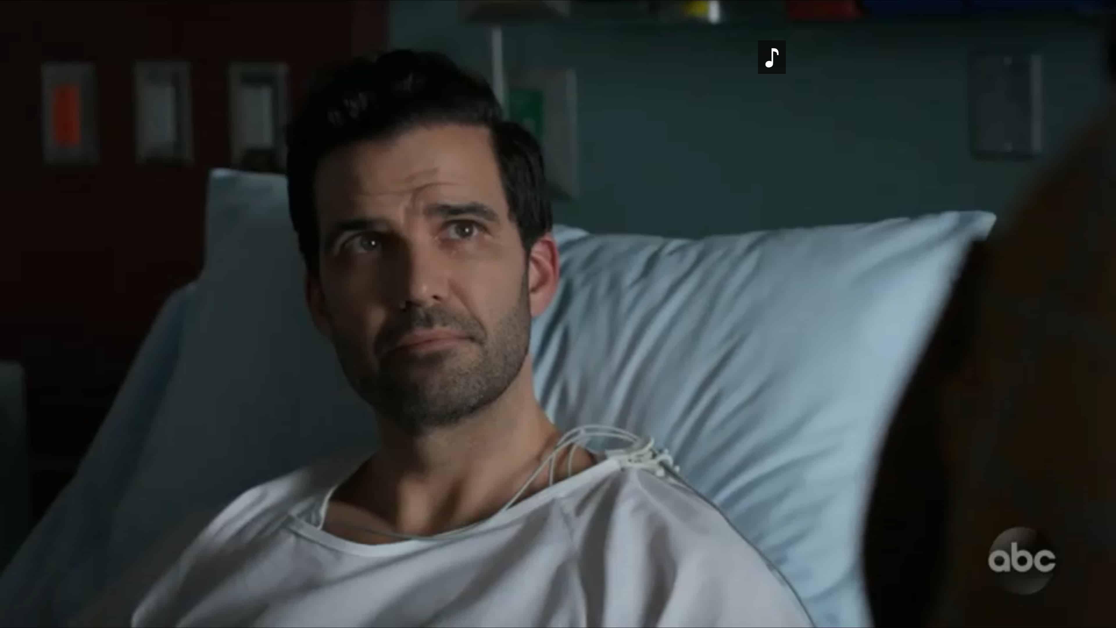 Wyatt (Benjamin Ayres) in a hospital bed