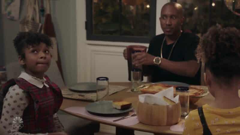 Aubrey (Dani Lane) and Gary (Chris Redd) at the dinner table