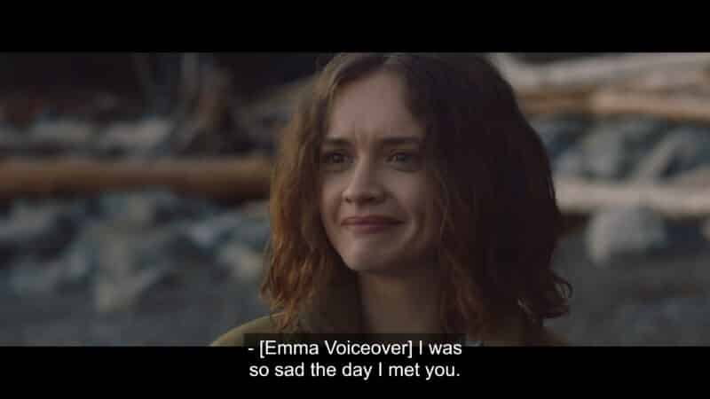 Emma (Olivia Cooke) saying her often repeated line of being sad the day she met Jude