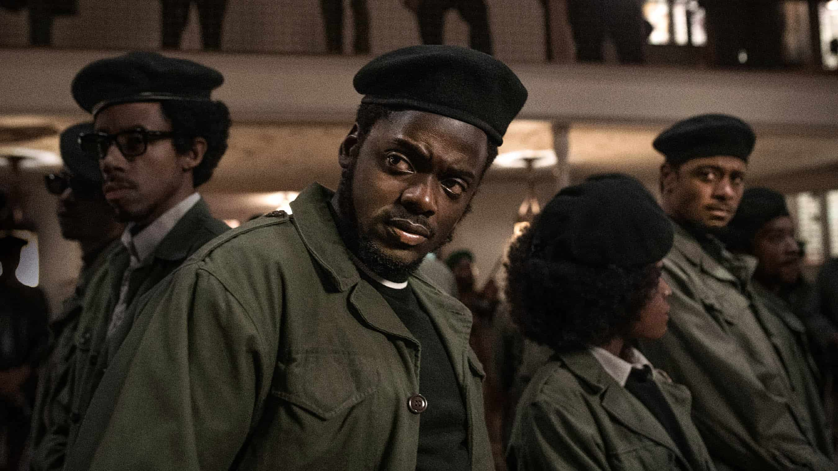 Fred Hampton (Daniel Kaluuya) and the Black Panther Party at a meeting to create a Rainbow Coalition