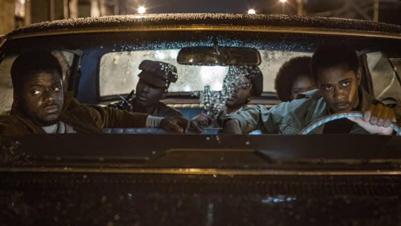 Fred Hampton (Daniel Stanfield) and Bill O'Neill (LaKeith Stanfield) and more in Bill's car