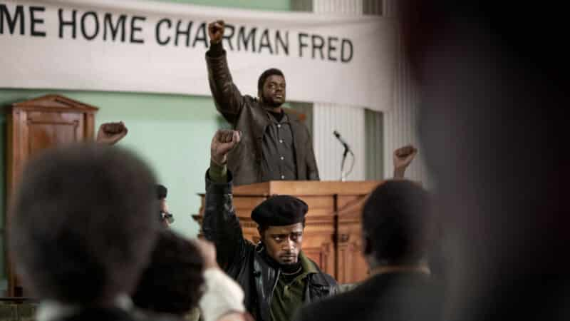 Fred Hampton (Daniel Stanfield) and Bill O'Neill (LaKeith Stanfield) during one of Hampton's rallies