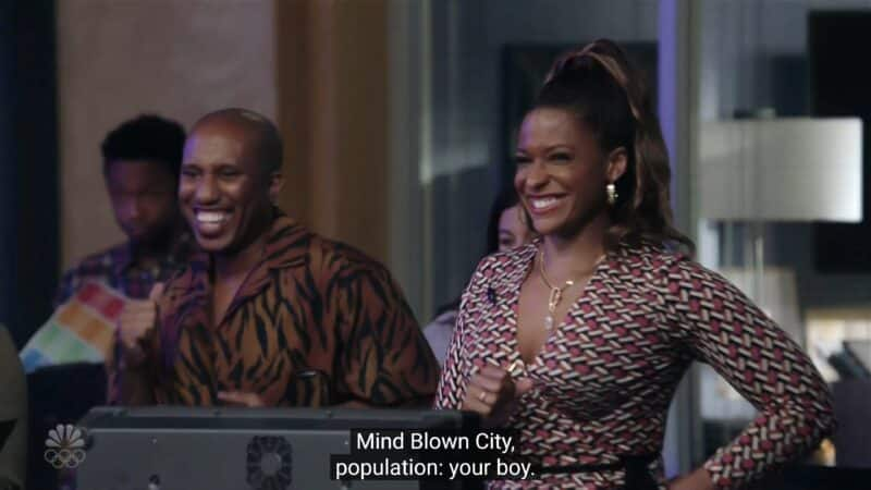 Gary (Chris Redd) and Mika (Kimrie Lewis) at the TV studio