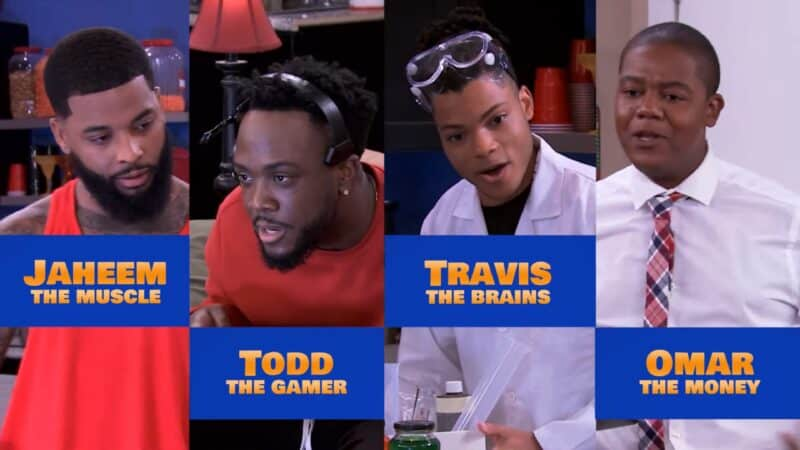 Jaheem (Keraun Harris), Todd (Aaron Grady), Travis (Philip Bolden), and Omar (Kyle Massey) in AllBlk's Millennials