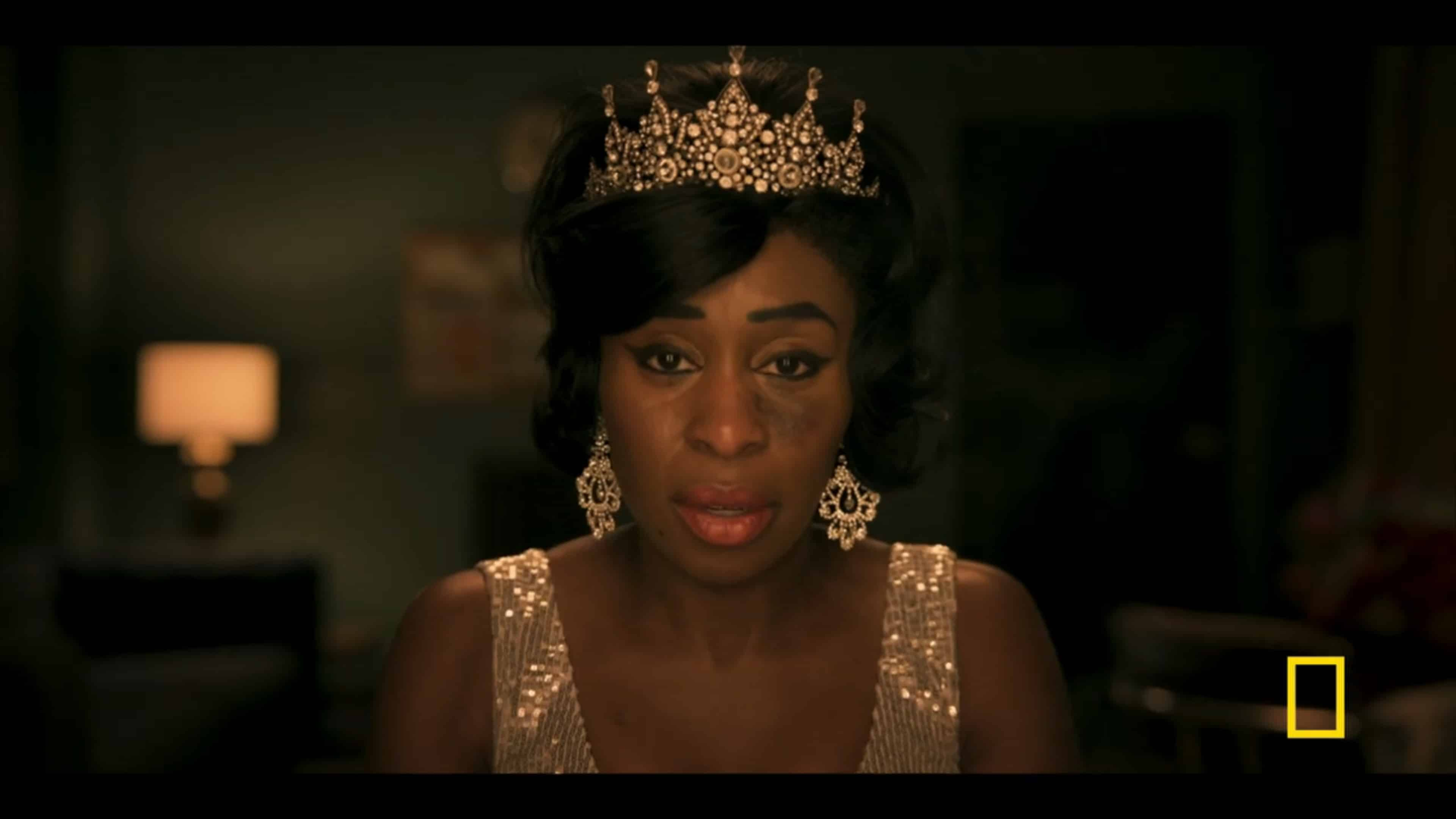 Aretha (Cynthia Erivo) after being crowned the Queen of Soul, with a bruise on her face caused by her husband
