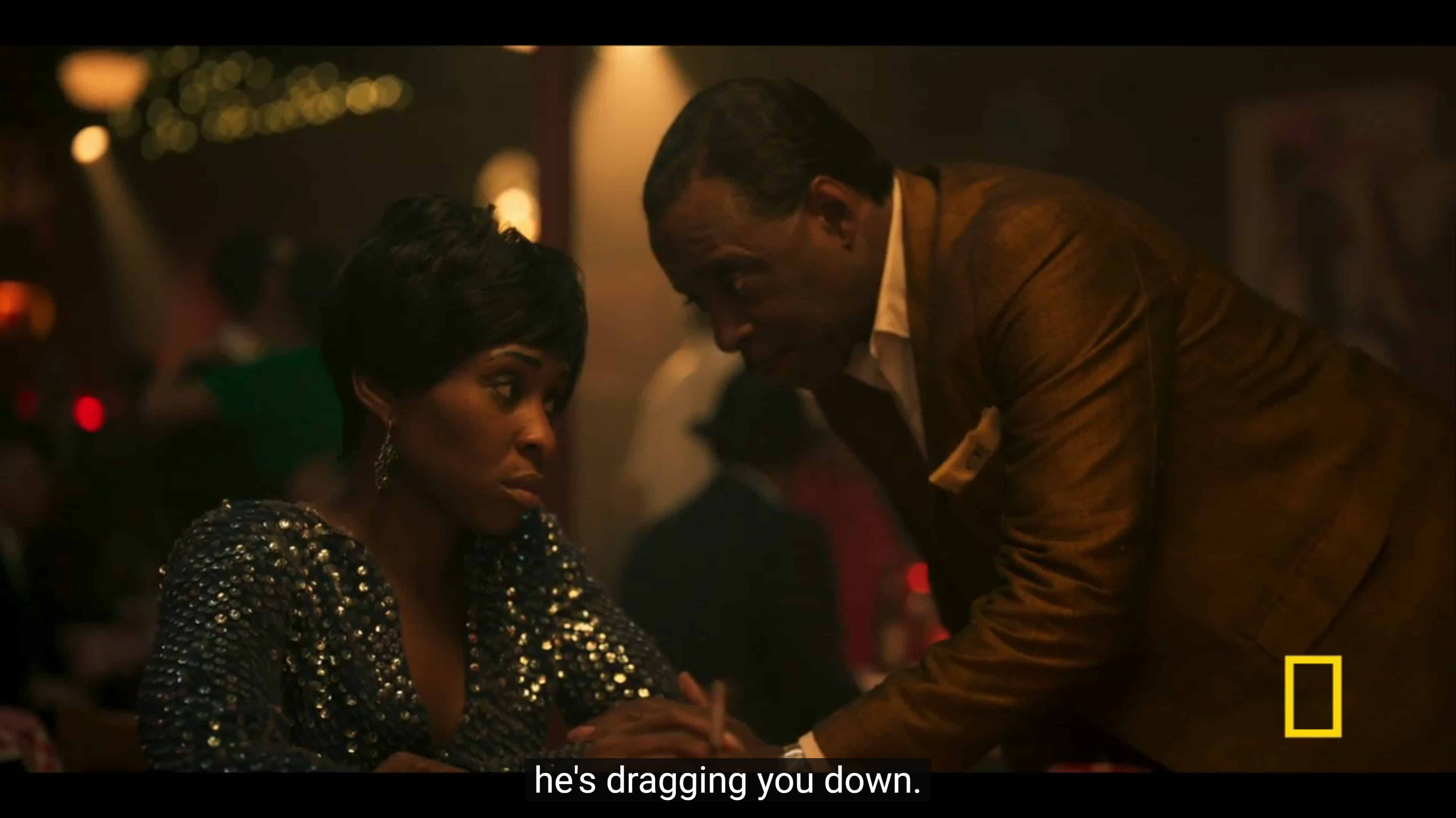 C.L. telling Aretha that her husband is dragging her down
