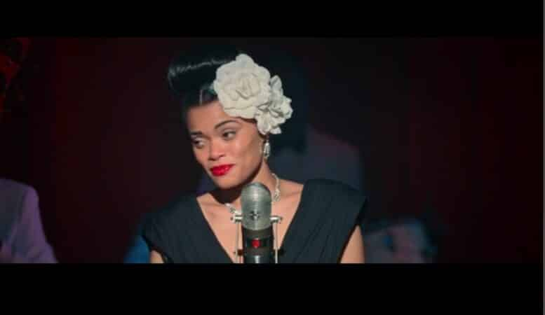 Billie Holiday (Andra Day) performing on stage