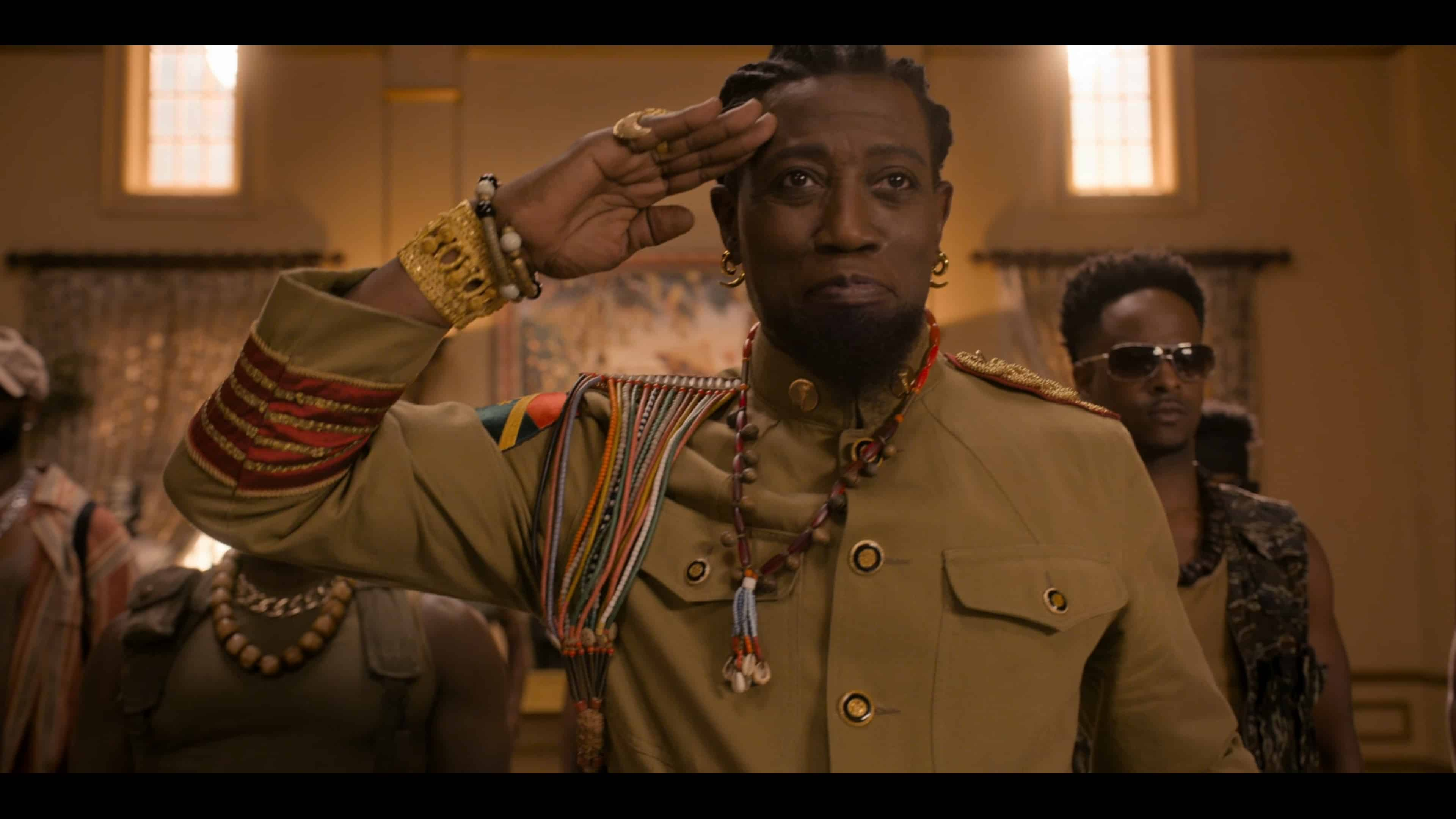 General Izzi (Wesley Snipes) saluting Akeem