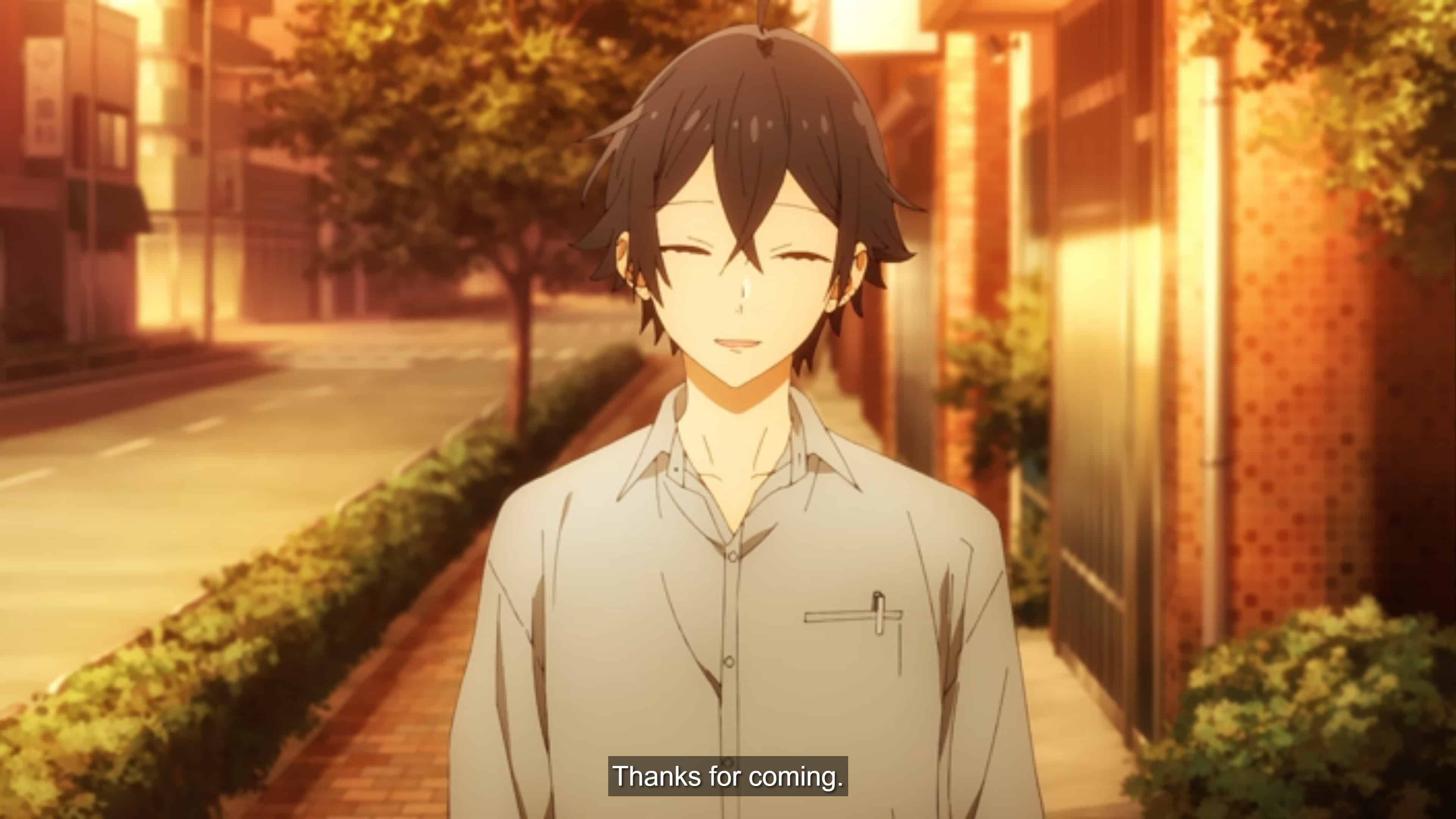 "Izumi saying, ""Thanks for coming."""