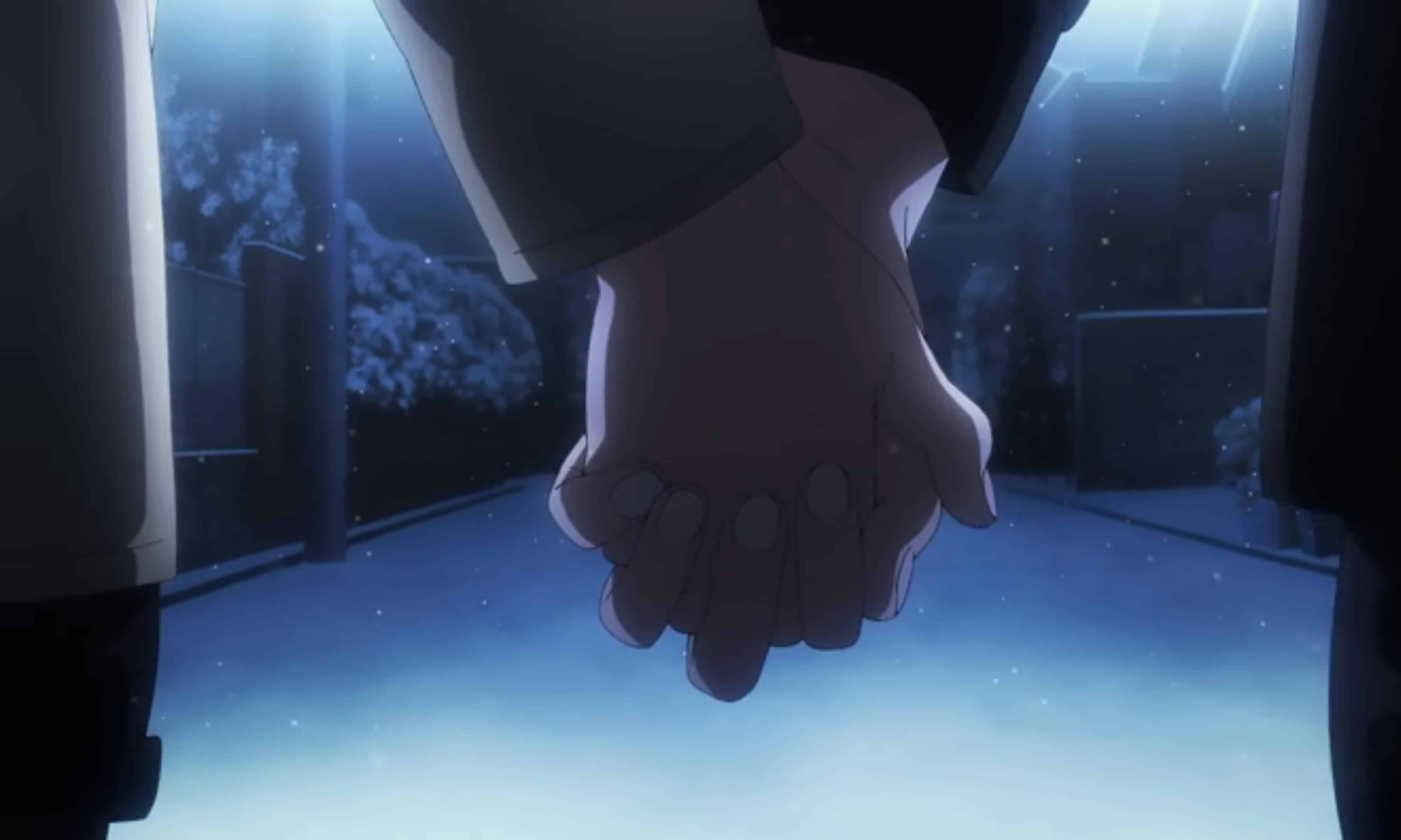 Izumi and Kyoko holding hands