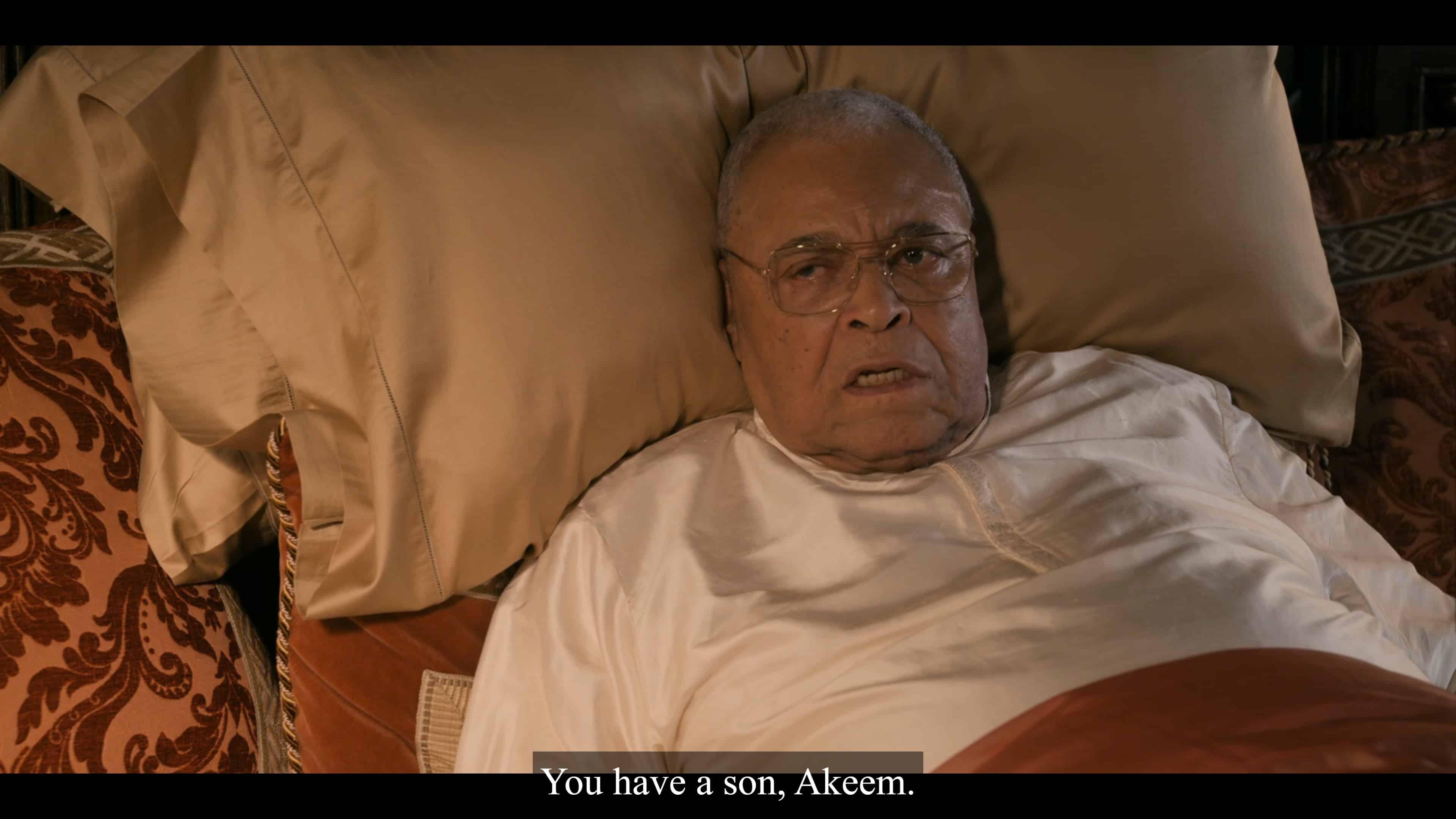 King Jaffe (James Earl Jones) telling Akeem he has a son