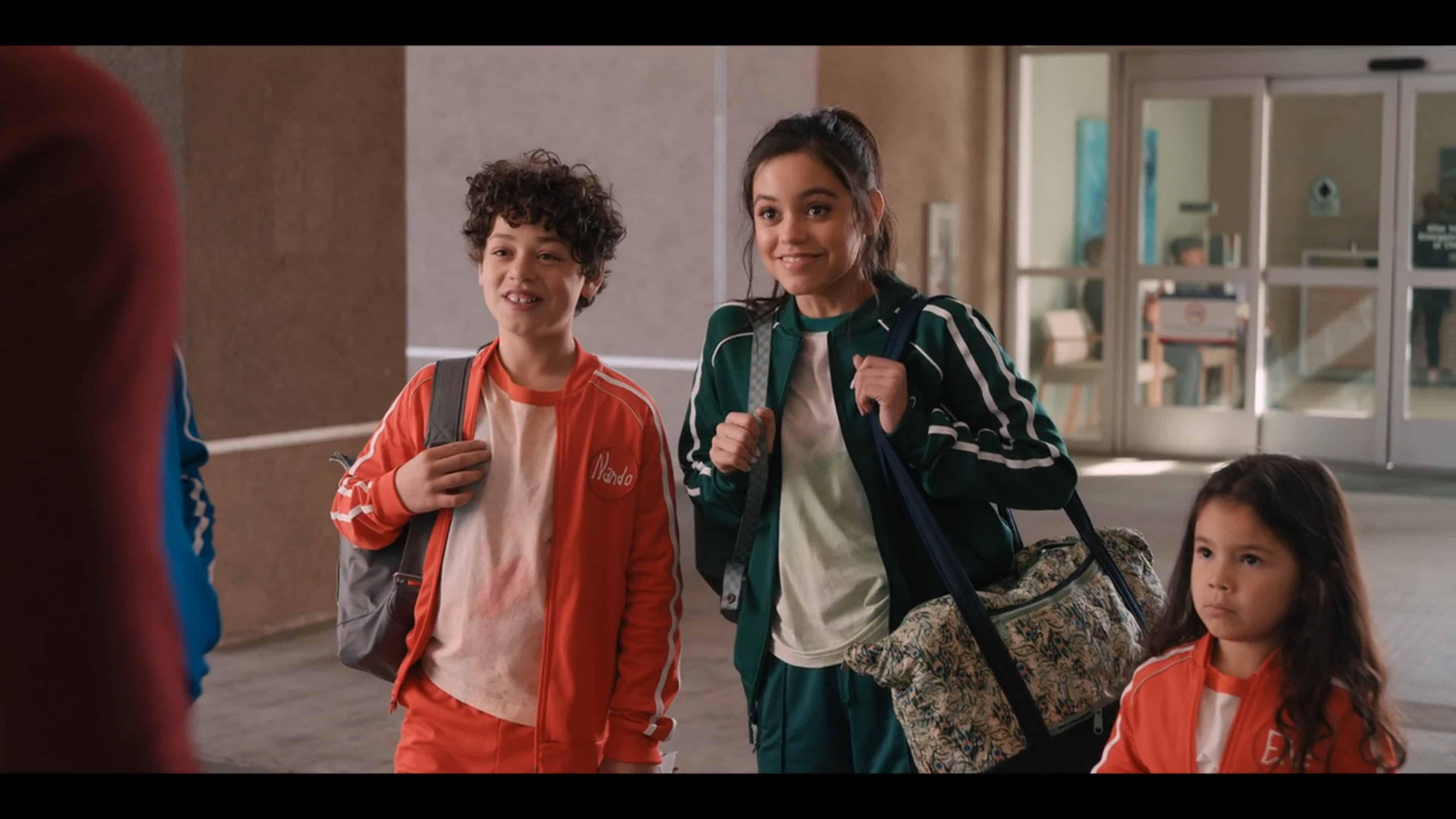 Nando (Julian Lerner), Katie (Jenna Ortega), Ellie (Everly Carganilla) excited for Yes Day