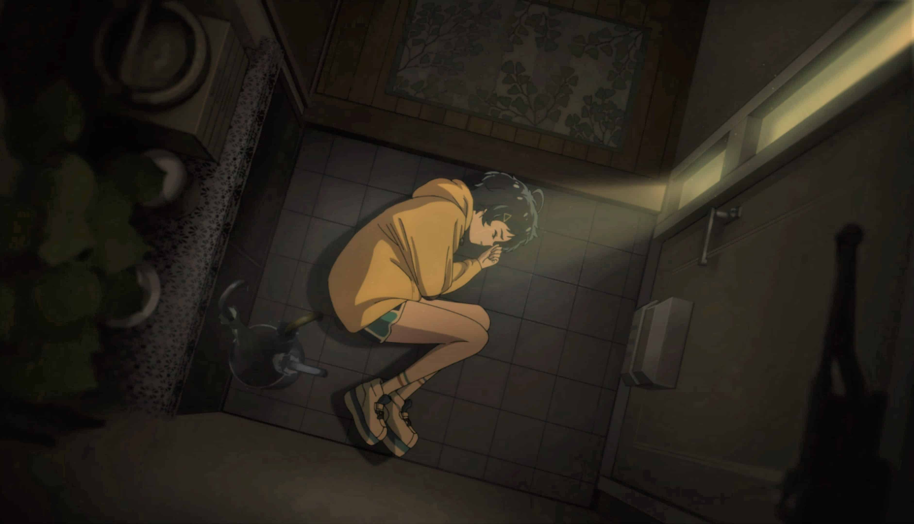Ai in the fetal position, in front of her front door