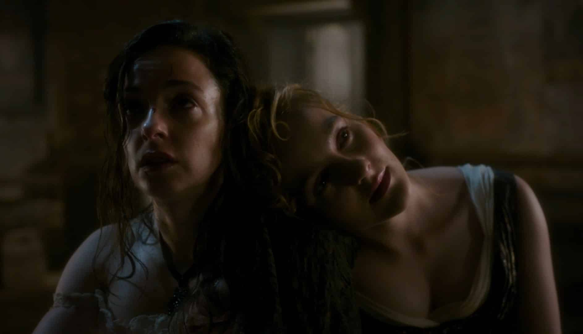 Amalia and Penance leaning on one another