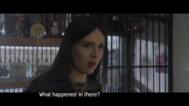 Bangles (Patti Harrison) questioning what happened in The Hub