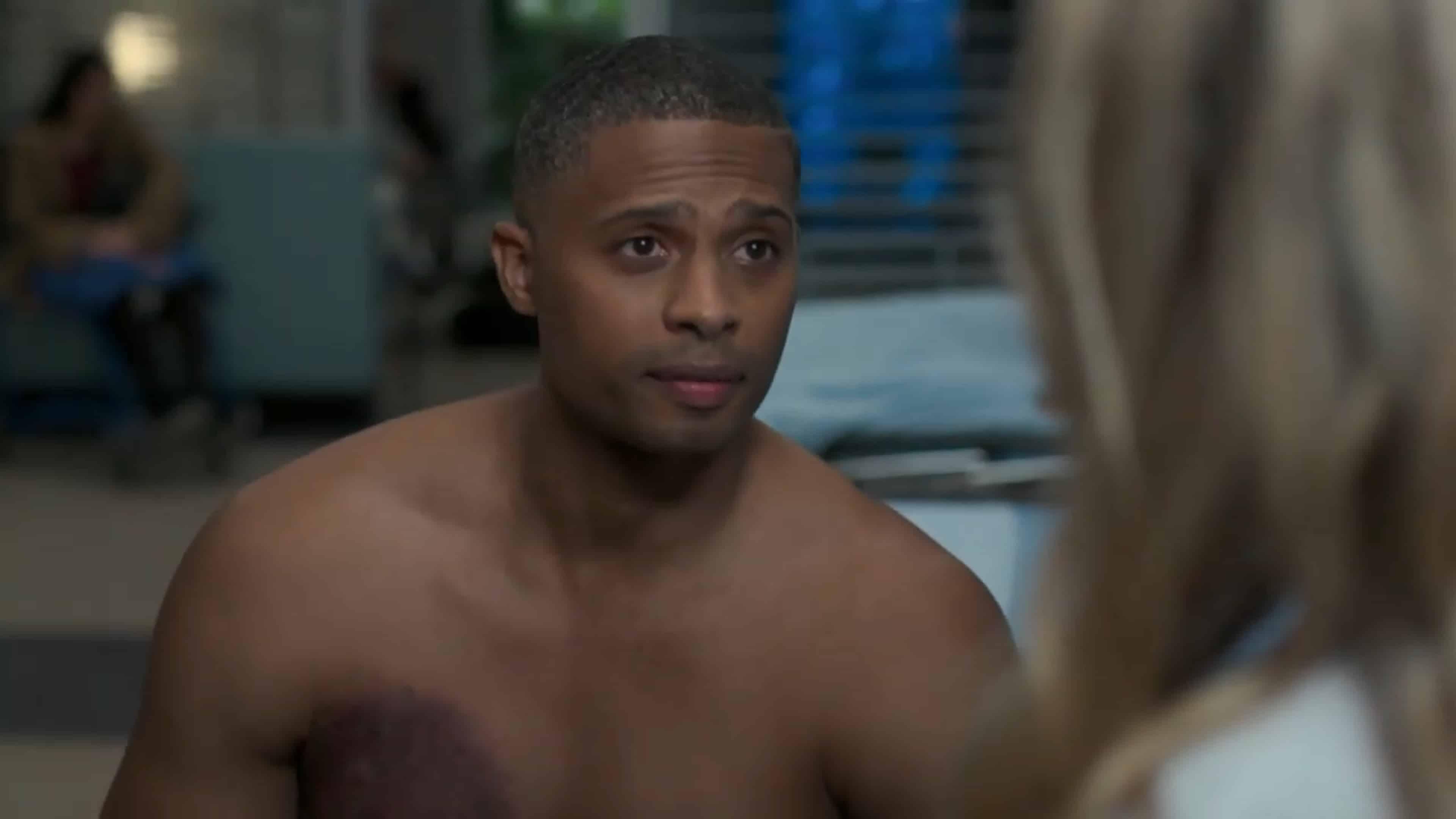 Bradley (Farley Jackson) talking to Asher and Morgan