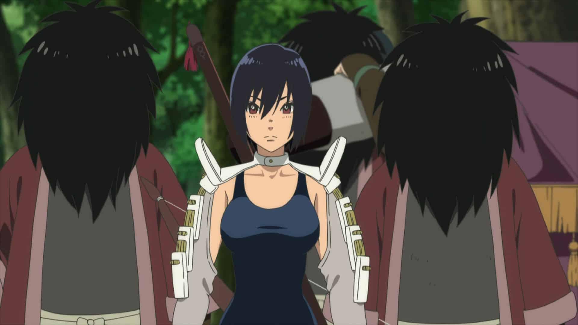 Hayase (Mitsuki Saiga) arriving into the village