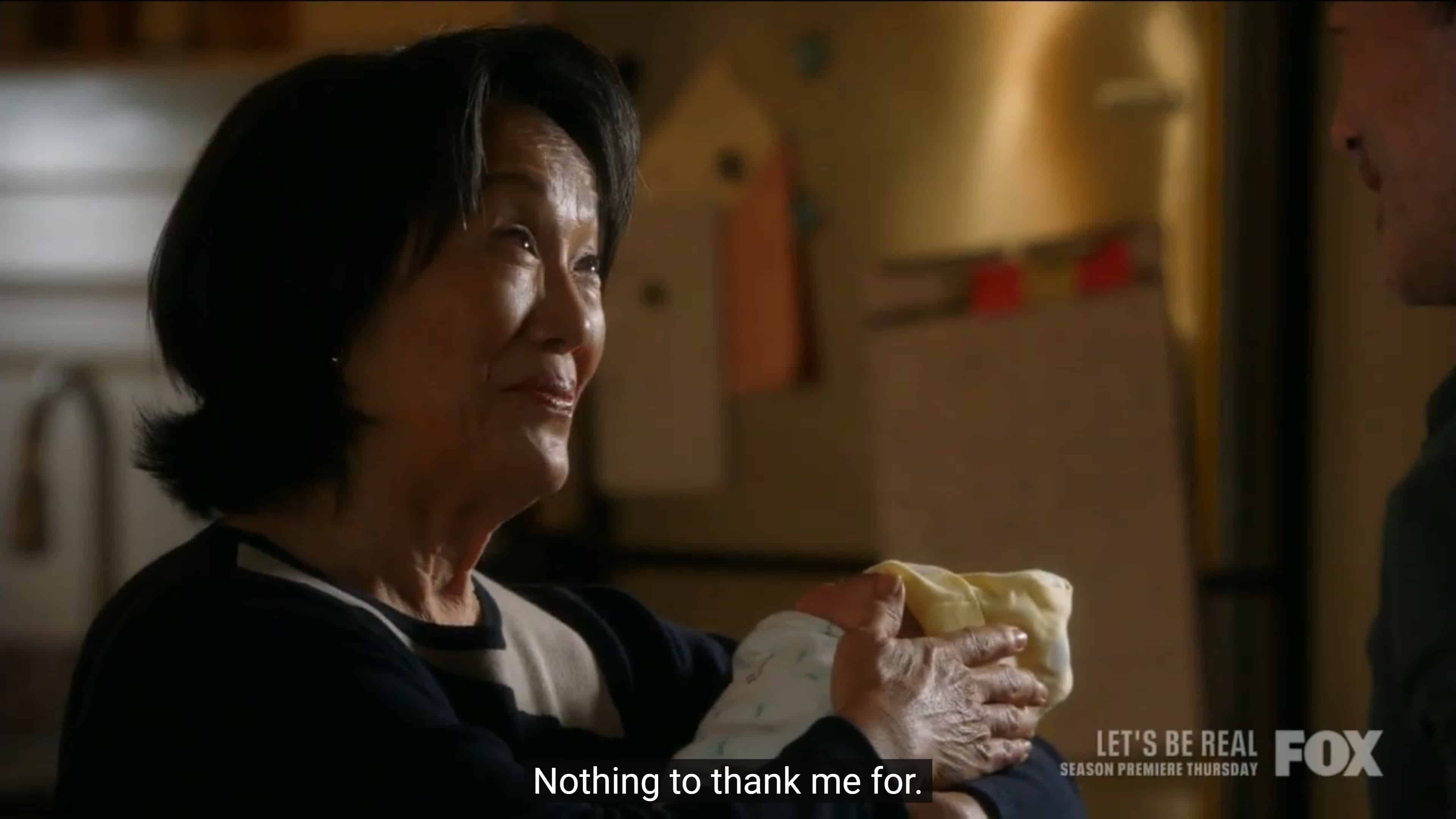 Chim thanking Mrs. Lee for helping