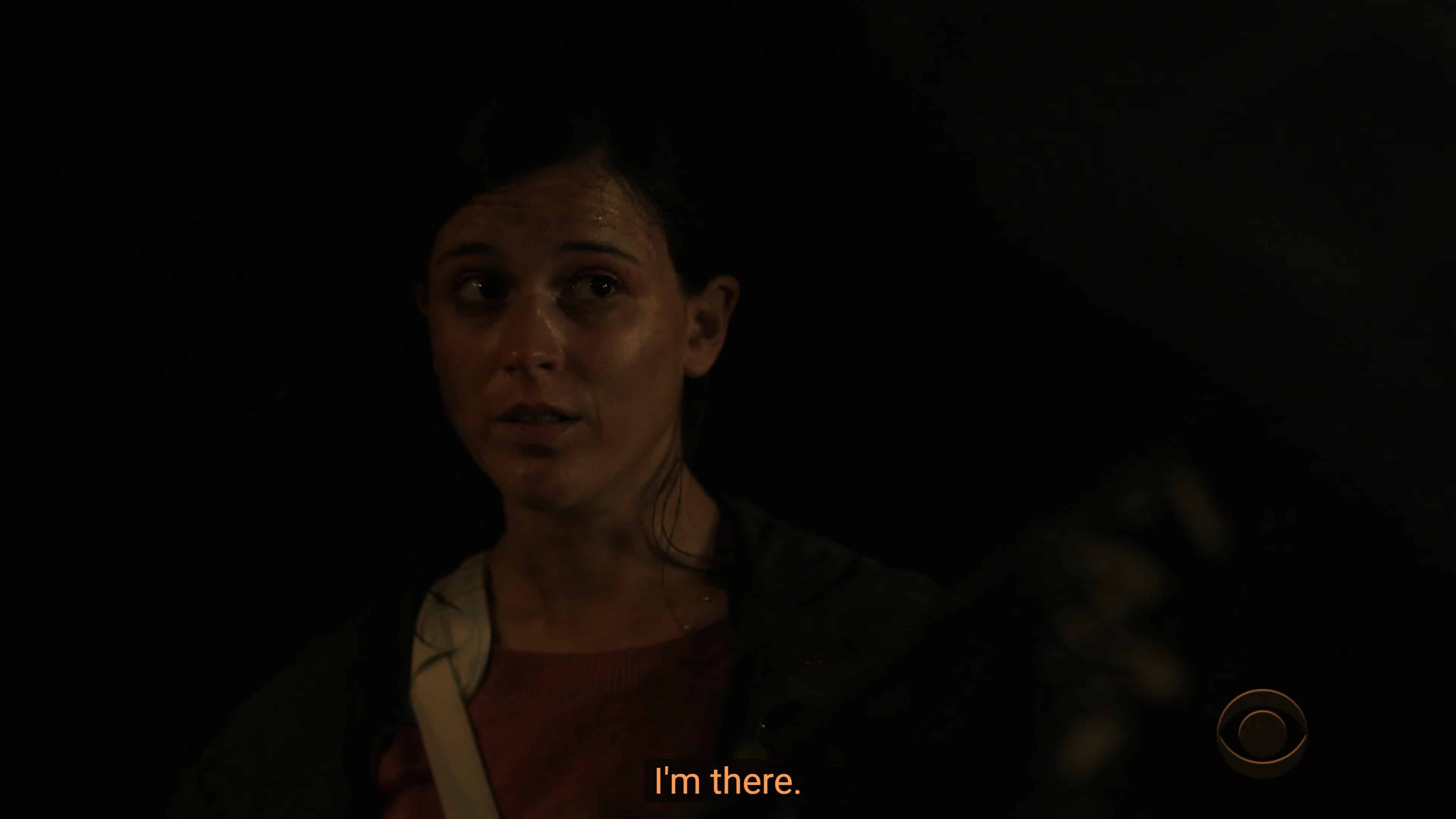 Carla (Alexandra Socha) noting she owes Robyn a favor and is there on command