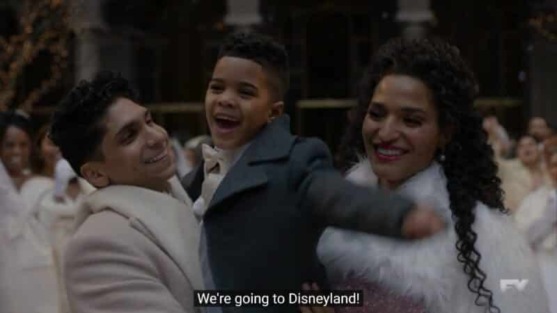 Esteban, Beto, and Angel after the wedding, with Beto saying they are going to Disneyland!