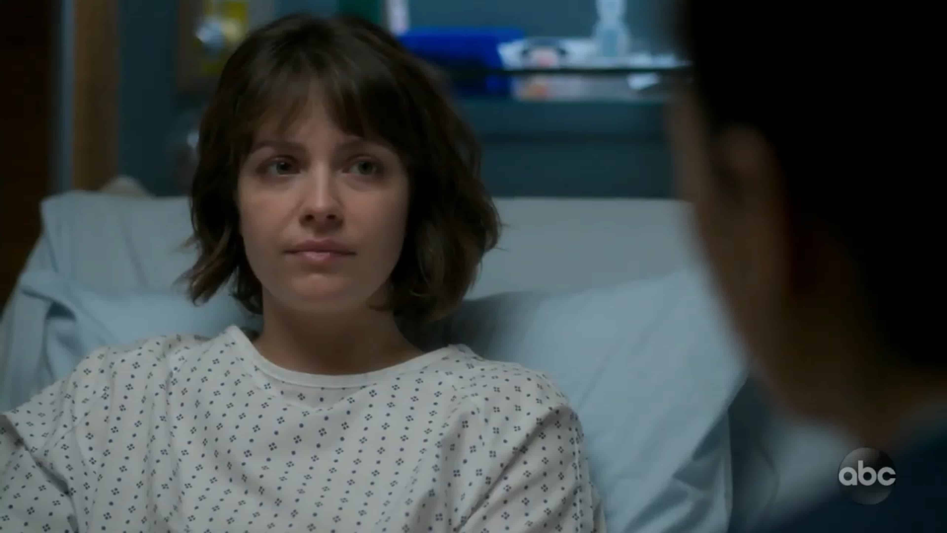 Lea in a hospital bed